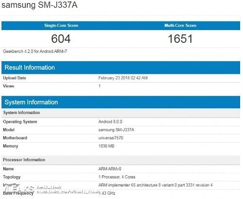 Samsung Galaxy J3 và J3 Pro 2018 lộ diện trên GeekBench - Ảnh 1