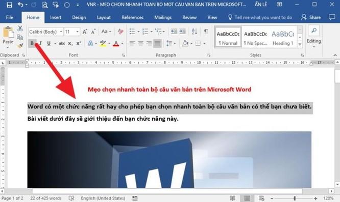 Mẹo chọn nhanh toàn bộ câu văn bản trên Microsoft Word - Ảnh 1