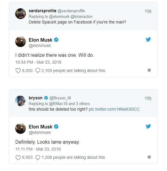 Bị thách thức, Elon Musk xóa trang Facebook của cả Tesla lẫn SpaceX - Ảnh 2