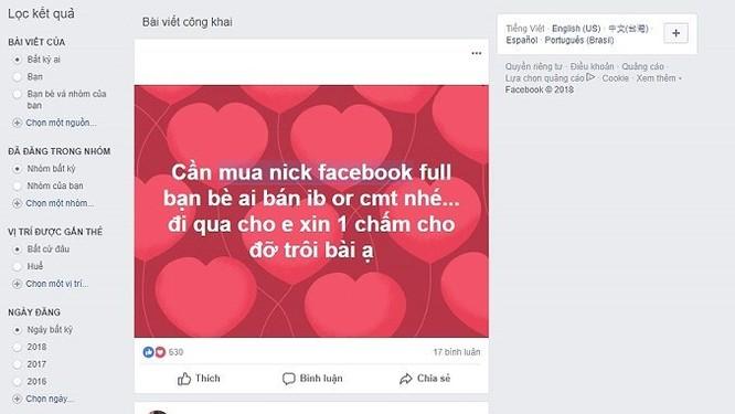 Tài khoản Facebook được rao bán công khai - Ảnh 2