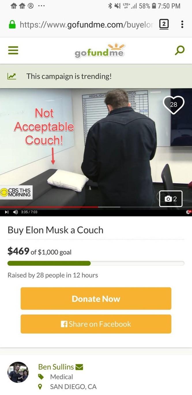 Hàng trăm người dùng Internet góp 5.000 USD mua... ghế sofa tặng tỷ phú Elon Musk ảnh 2