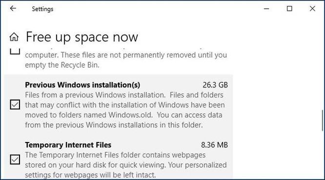 Cách giải phóng 10GB dung lượng ổ đĩa sau khi cài bản cập nhật April 2018 của Windows 10 ảnh 4