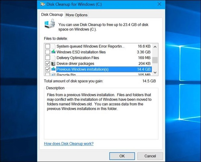Cách giải phóng 10GB dung lượng ổ đĩa sau khi cài bản cập nhật April 2018 của Windows 10 ảnh 8