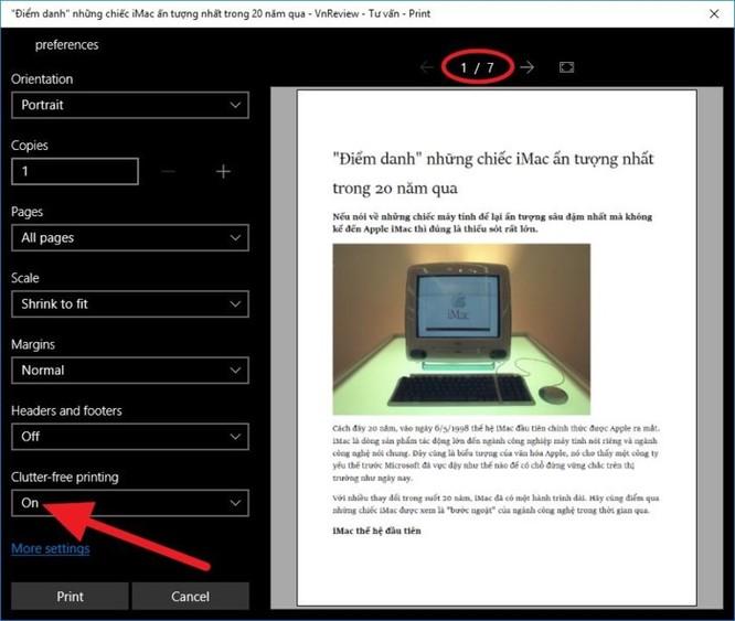 Cách loại bỏ những thành phần không cần thiết khi in trang web trên Edge, Chrome, và Firefox ảnh 4