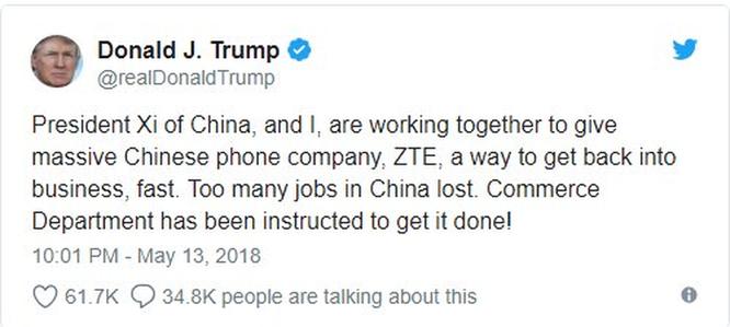 Tổng thống Trump sẽ cho phép ZTE của Trung Quốc hoạt động trở lại? ảnh 1