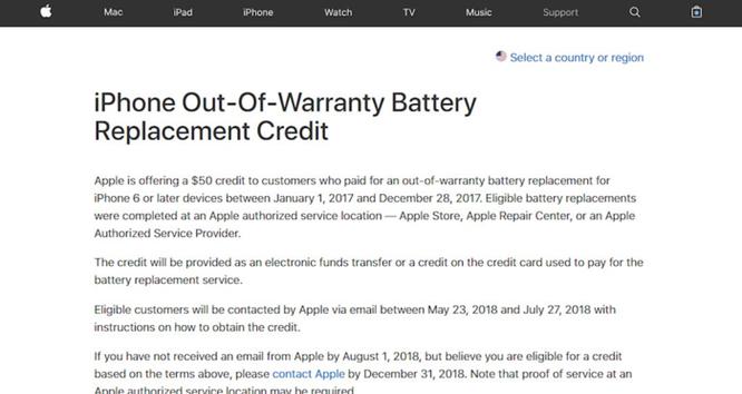 Apple 'bồi thường' 50 USD cho khách hàng đã thay pin do lỗi điện thoại bị chậm vào năm 2017 ảnh 2