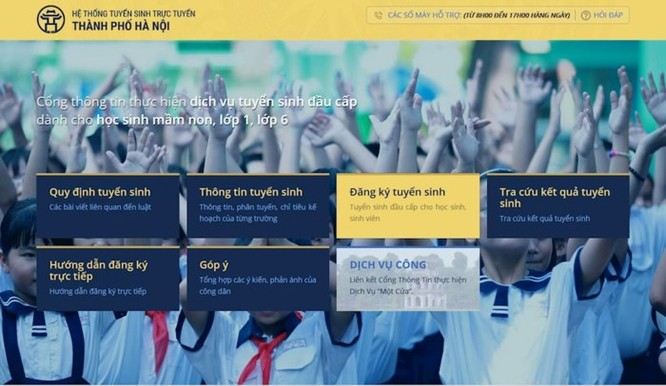 Hướng dẫn đăng ký tuyển sinh lớp 1 trực tuyến ở Hà Nội năm học 2018-2019 ảnh 1