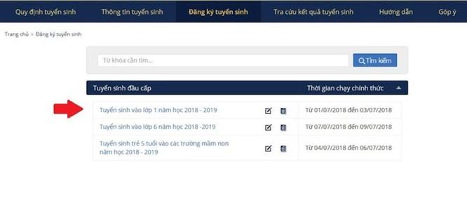 Hướng dẫn đăng ký tuyển sinh lớp 1 trực tuyến ở Hà Nội năm học 2018-2019 ảnh 2