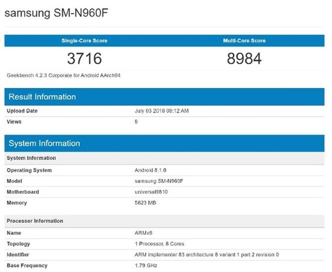 Samsung Galaxy Note 9 xuất hiện trên Geekbench: Chạy Android 8.1, RAM 6GB ảnh 1