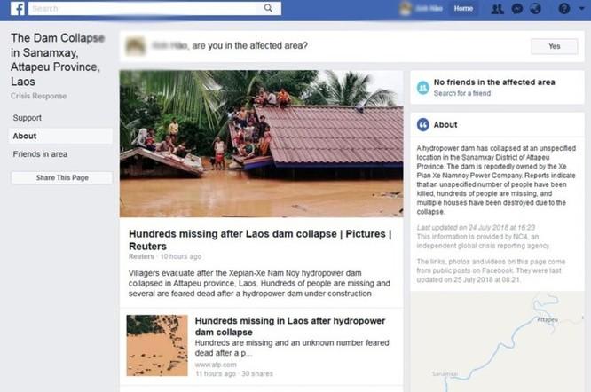 Địa chỉ Facebook kiểm tra an toàn trong vụ vỡ đập ở Lào khiến hàng trăm người mất tích ảnh 1