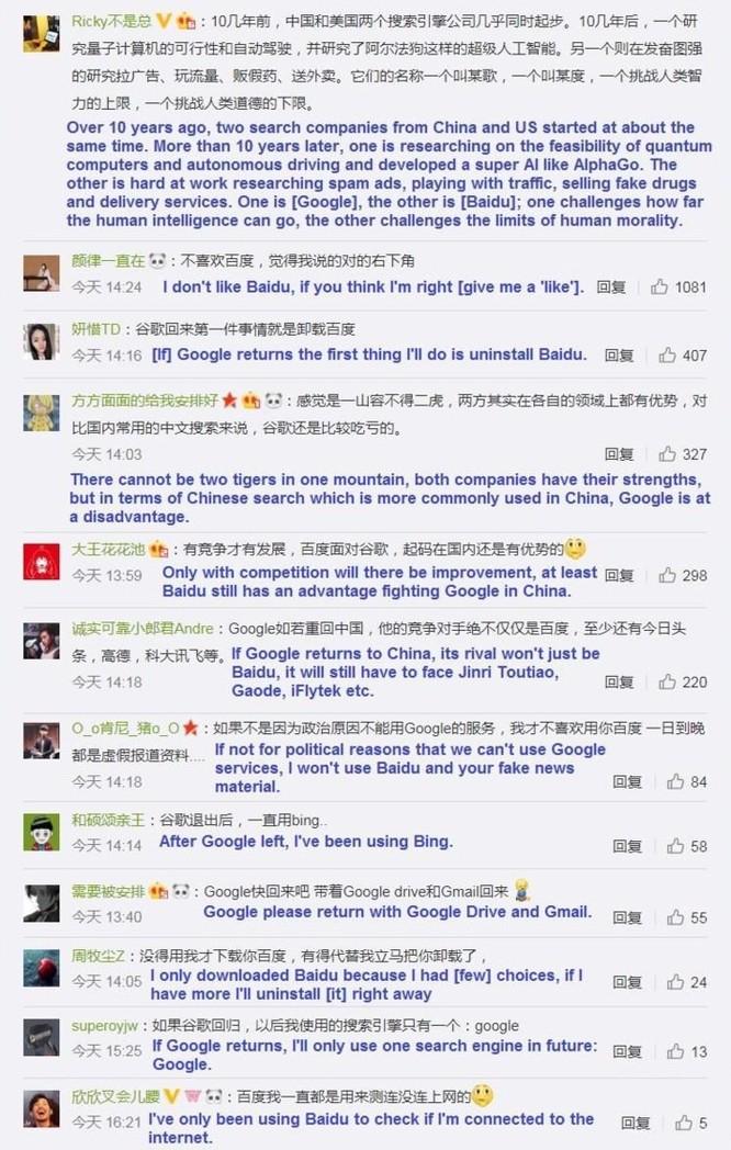 Người Trung Quốc bênh Google: 'Tôi sẽ gỡ Baidu nếu Google quay lại' ảnh 1