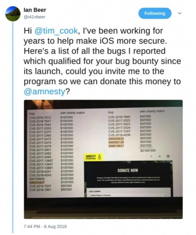 Hacker của Google đòi Apple trả thưởng 2,45 triệu USD do tìm thấy lỗ hổng bảo mật trên iPhone ảnh 2