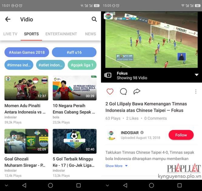 Cách xem giải bóng đá ASIAD 2018 trên smartphone ảnh 1