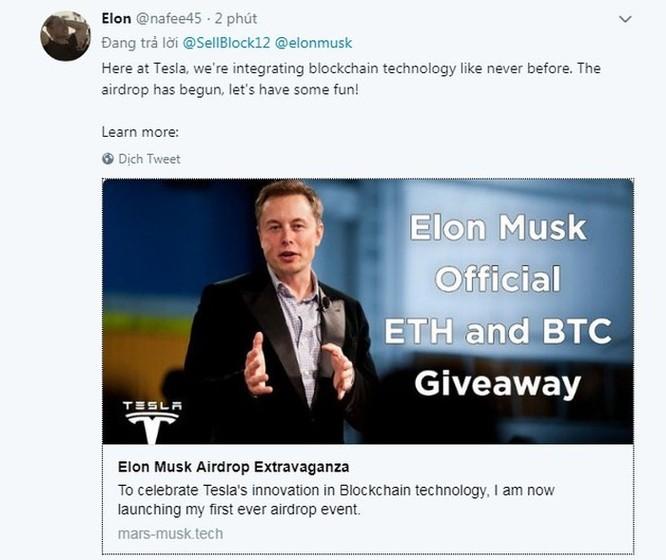 Mạo danh Elon Musk để lừa tặng Bitcoin, Tesla Model 3 ảnh 1