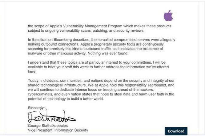 Apple viết thư lên Quốc hội Mỹ 'thanh minh' không hề có chip gián điệp trong hệ thống máy chủ ảnh 3