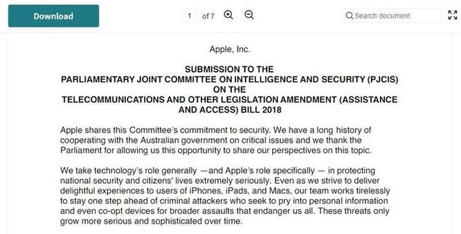 Apple lên tiếng phản đối 'dự luật mã hóa' của Úc vì ảnh hưởng đến an toàn dữ liệu cho người dùng ảnh 2