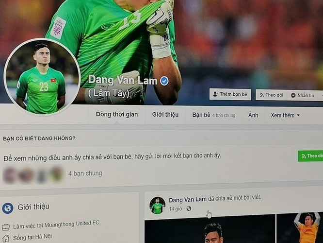 Facebook Đặng Văn Lâm bị chiếm quyền, lộ thông tin nhạy cảm ảnh 1