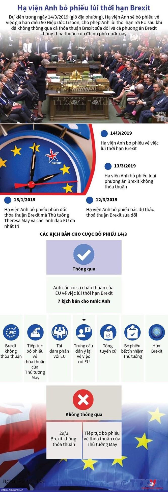 Hạ viện Anh bỏ phiếu lùi thời hạn thỏa thuận Brexit ảnh 1