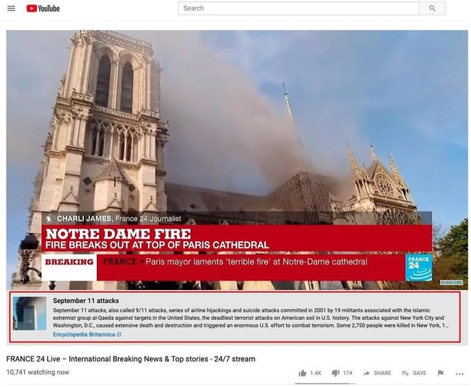 YouTube nhận nhầm vụ cháy Nhà thờ Đức Bà Paris là sự kiện 11/9 ảnh 1