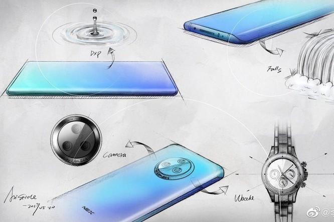 Lộ thêm hình Vivo NEX 3: màn hình thác đổ siêu cong, cụm camera tròn ảnh 1