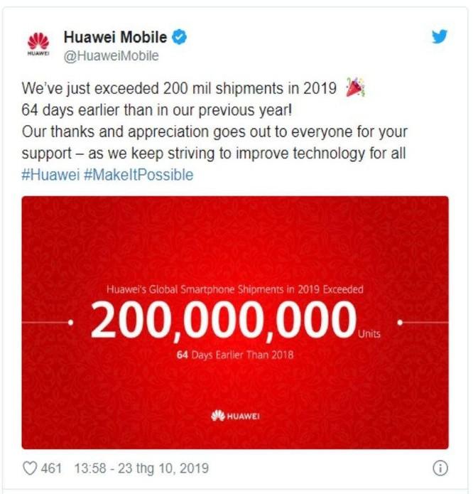 Huawei cán mốc 200 triệu smartphone trong năm 2019 ảnh 1