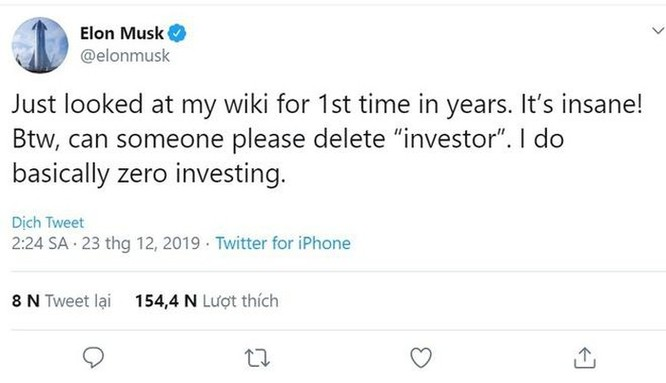 Elon Musk yêu cầu sửa thông tin cá nhân trên Wikipedia ảnh 1