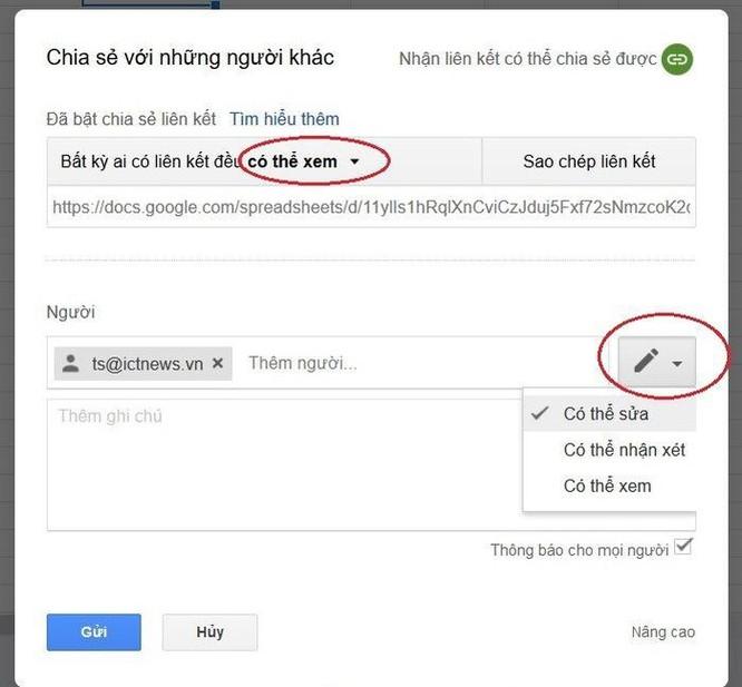 Hướng dẫn sử dụng Google Sheets chia sẻ file cho nhiều người chỉnh sửa ảnh 3