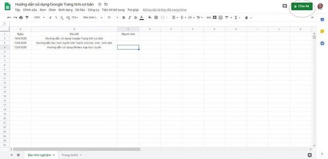 Hướng dẫn sử dụng Google Sheets chia sẻ file cho nhiều người chỉnh sửa ảnh 1