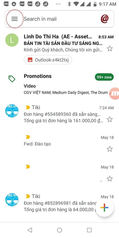 Hướng dẫn cài đặt giao diện Gmail nền tối trên điện thoại ảnh 1