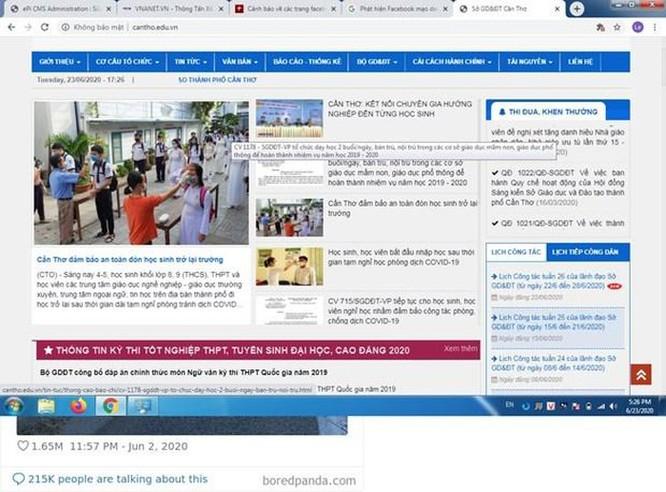 Phát hiện Facebook mạo danh Sở Giáo dục và Đào tạo thành phố Cần Thơ ảnh 1