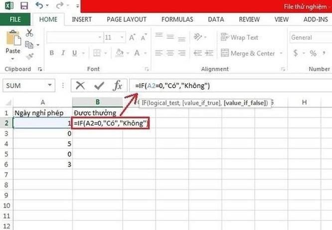 Hướng dẫn sử dụng hàm IF trong Excel ảnh 1