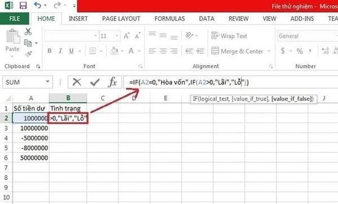 Hướng dẫn sử dụng hàm IF trong Excel ảnh 3