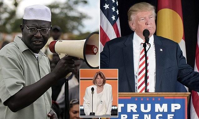 Ông Trump đã mời người anh em cùng cha khác mẹ với tổng thống Obama (trái) và bà mẹ một nạn nhân thiệt mạng tại Lybia (ảnh nhỏ) tới cuộc tranh luân nhằm gây sức ép với bà Clinton