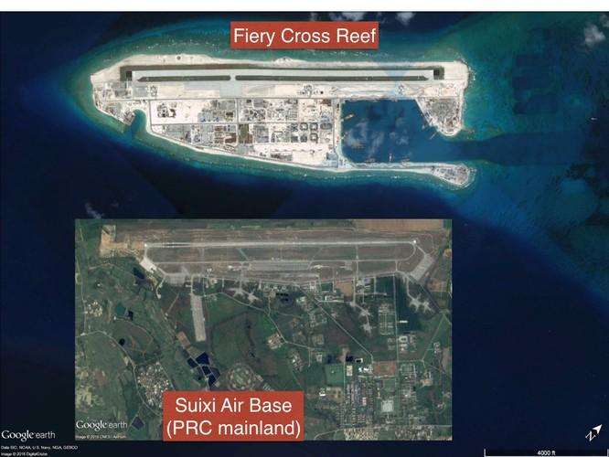 Đá Chữ Thập sau khi được cải tạo thành đảo nhân tạo có diện tích lớn nhất Trường Sa với một đường băng dài 3km và các nhà chứa máy bay