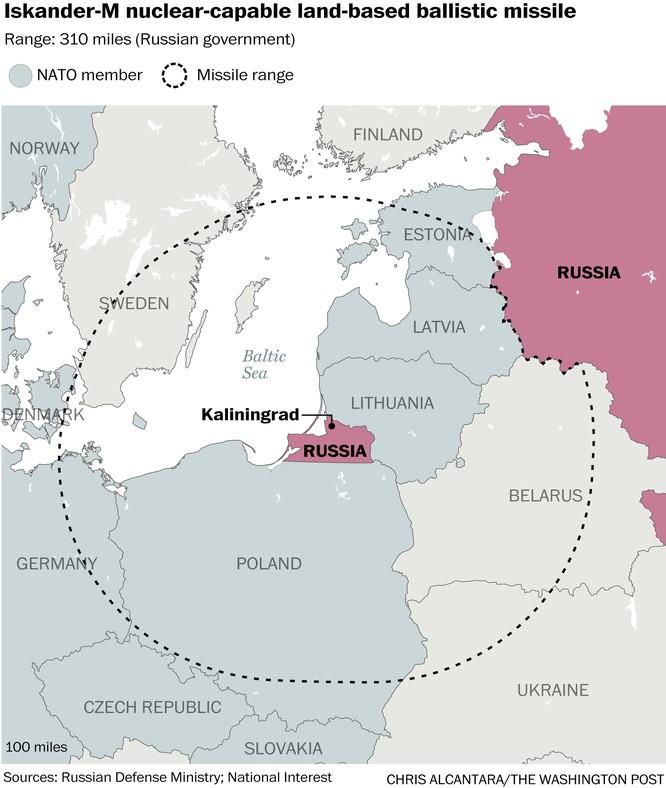 Tầm bắn của tên lửa đạn đạo Iskander Nga triển khai ở vùng lãnh thổ Kalingrad