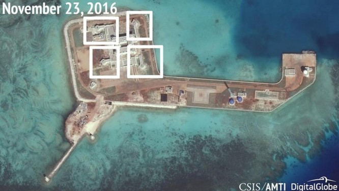 Trung Quốc có thể đã triển khai vũ khí trái phép trên đá Tư Nghĩa tại khu vực quần đảo Trường Sa
