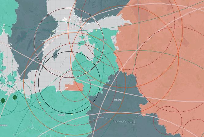 Tấm bản đồ thể hiện tầm bắn các loại vũ khí của Nga và NATO ở châu Âu
