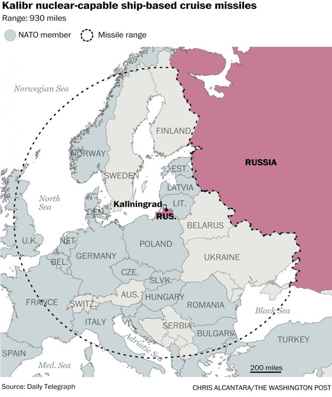 Tên lửa hành trình Kalibr tại Kaliningrad vươn tới hầu khắp nước châu Âu