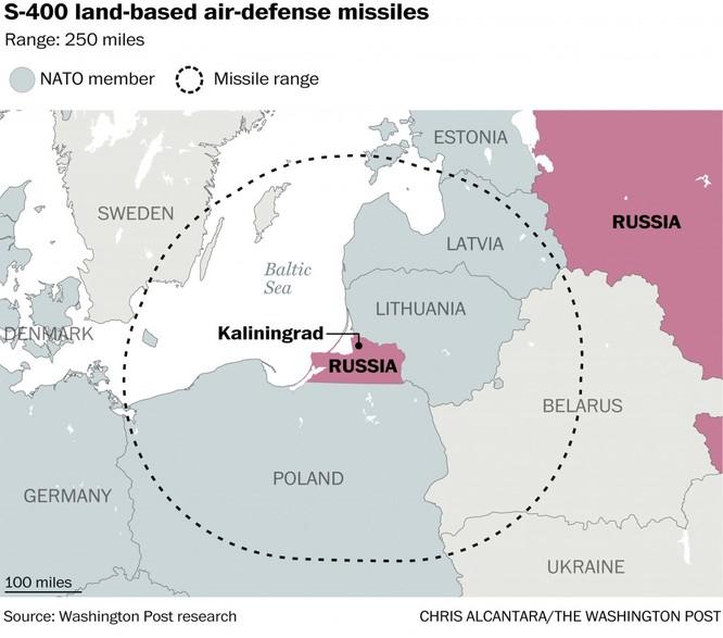 Tầm bắn của tên lửa S-400 triển khai tại vùng lãnh thổ Kaliningrad