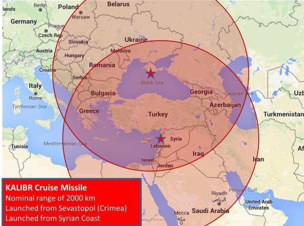 Tầm bắn của tên lửa hành trình Kalibr triển khai ở bờ biển Syria và Biển Đen