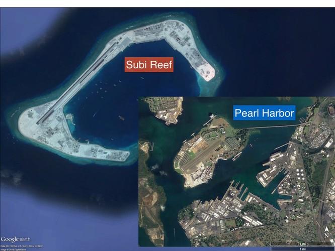 Cận cảnh đá Subi bị bồi lấp trái phép thành đảo nhân tạo với đường băng, các công trình quân sự kiên cố