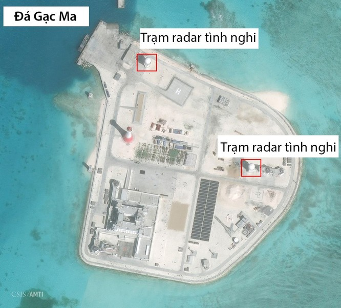 Trung Quốc đã triển khai nhiều vũ khí, thiết bị quân sự trên Đá Gạc Ma ở quần đảo Trường Sa