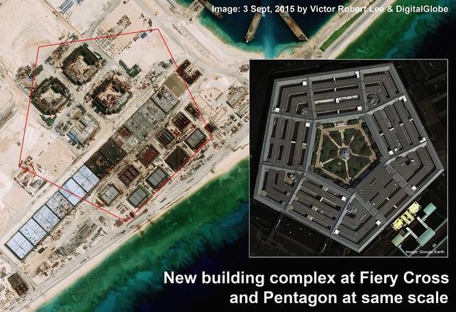 Cận cảnh Đá Chữ Thập đã bị Trung Quốc bồi lấp, xây đảo nhân tạo trái phép với đường băng và các nhà chứa máy bay tại quần đảo Trường Sa