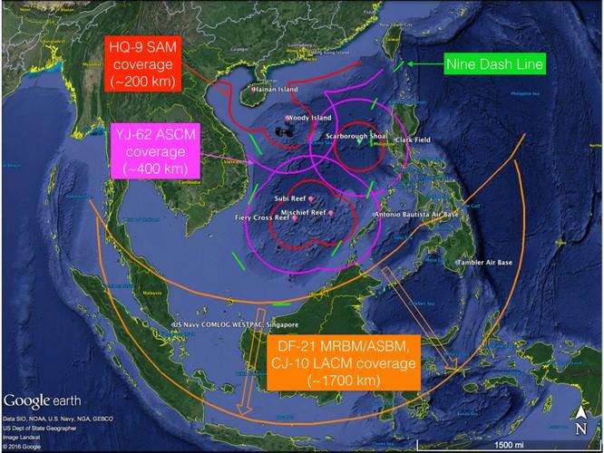 Tầm bắn của tên lửa Trung Quốc triển khai trên các đảo nhân tạo