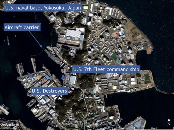 Căn cứ Hạm đội 7 Mỹ đóng tại Yokosuka, Nhật Bản là mục tiêu mô phỏng