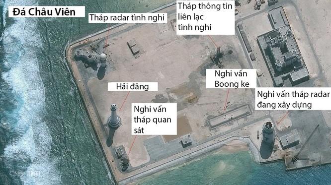 Đá Châu Viên ở quần đảo Trường Sa đã bị Trung Quốc bồi lấp trái phép thành đảo nhân tạo với các công trình quân sự kiên cố