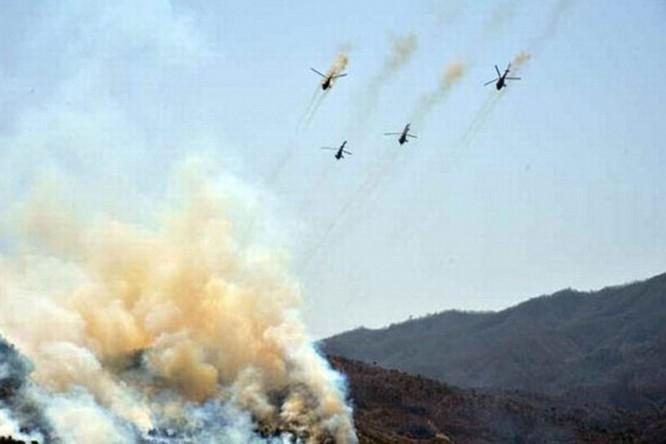 Trực thăng Triều Tiên khai hỏa trong cuộc tập trận
