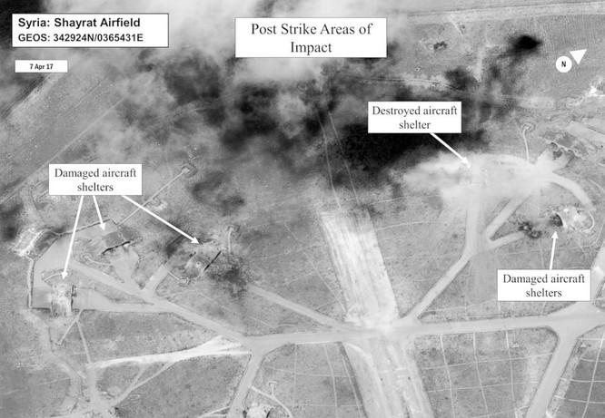 Căn cứ không quân Syria bị Mỹ tập kích tên lửa sáng 7/4