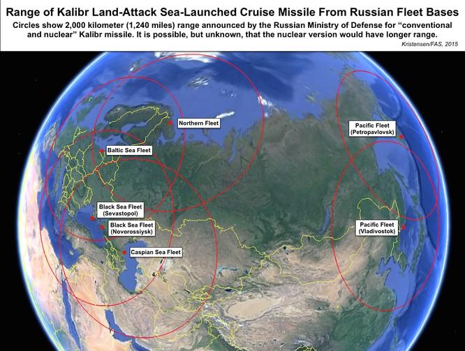 Tầm bắn tên lửa hành trình Kalibr từ các căn cứ hạm đội của Nga