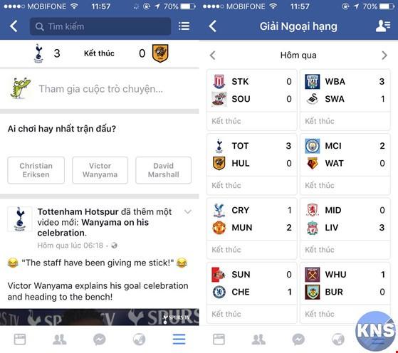 Cập nhật tin tức, tỉ số bóng đá bằng Facebook ảnh 2
